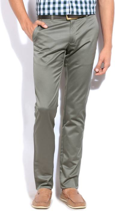 The Indian Garage Co. Slim Fit Men's Green Trousers