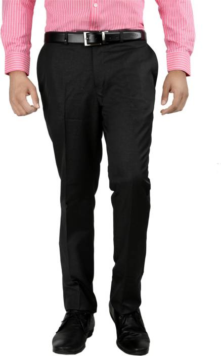 3f53425070b Oxemberg Slim Fit Men s Black Trousers - Buy Black Oxemberg Slim Fit Men s  Black Trousers Online at Best Prices in India