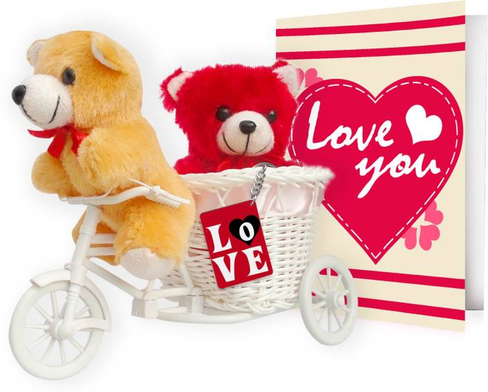 Tied Ribbons teddy cycle romance gift set for valentine's day Showpiece Gift Set