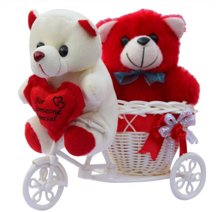 CTW Love Couple Teddy Basket cycle Valentine Showpiece Gift Set