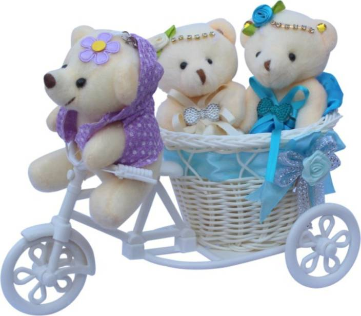 Ctw Basket Cycle With Teddy Couple Love Heart Valentine Showpiece