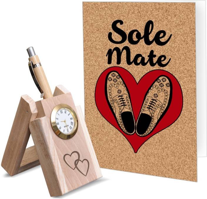 Tiedribbons Valentine Romantic Gifts For Him Clock Embedded Wooden