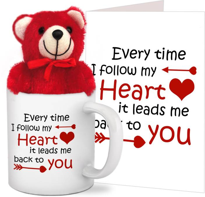 Tiedribbons Combo Gift for Girl Friend Coffee Mug,Teddy and Greeting card Mug Gift Set