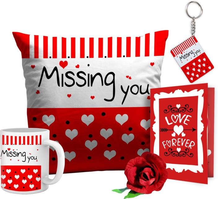 Tied Ribbons TIED RIBBONS missing you Valentine's Day Gift for Her or Him with cushion cover mug keychain card and rose Cushion Gift Set