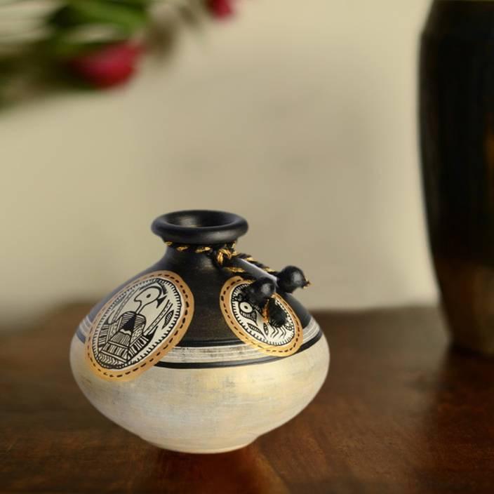 ExclusiveLane Handpainted with Madhubani Art in Matki Shape Terracotta Vase