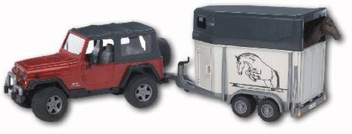 Bruder Toys Jeep Wrangler Unlimited W Horse Trailer Incl 1