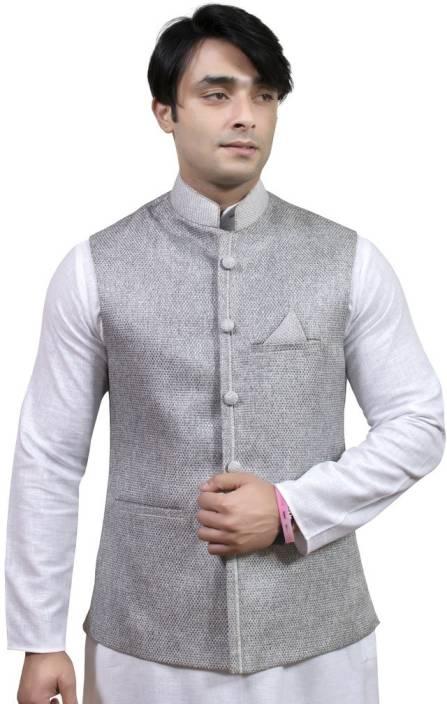 Rajwada Nehru/ Modi Ethnic Jute Jacket Self Design Men's ...