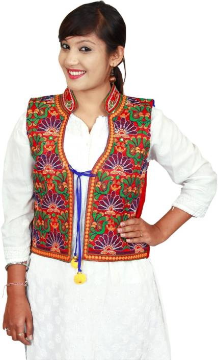 fd28376cfdd KAJCI Embroidered Women s Waistcoat - Buy Blue