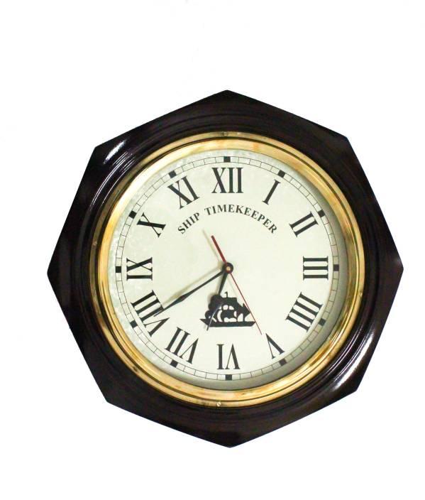 Brown Village Analog Wall Clock Price In India Buy Brown