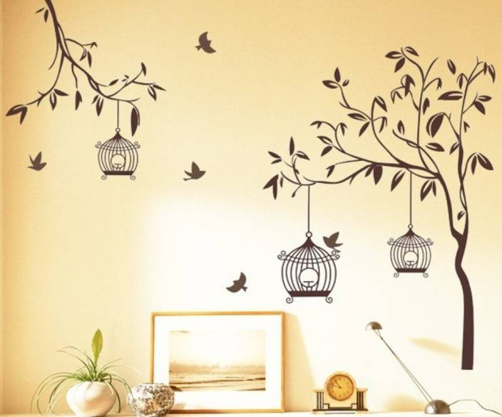 happy walls tree branch with birds & bird house tv decor price in