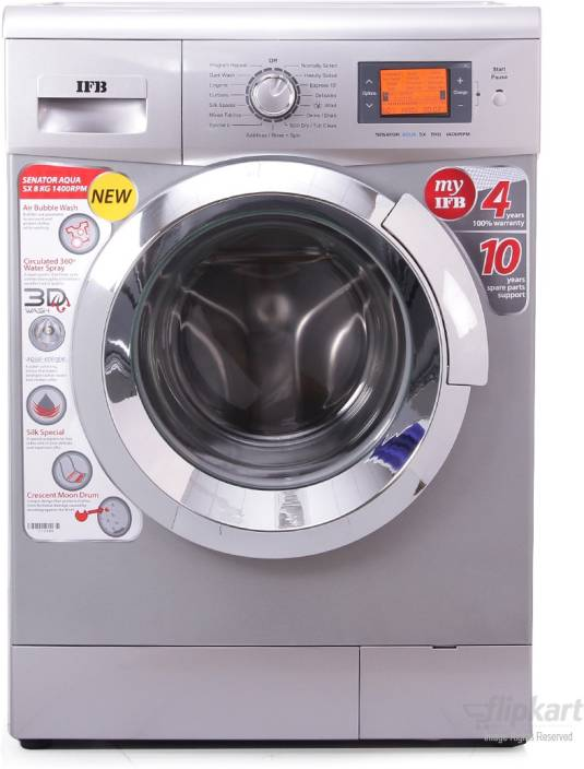 IFB 8 kg Fully Automatic Front Load Washing Machine Silver