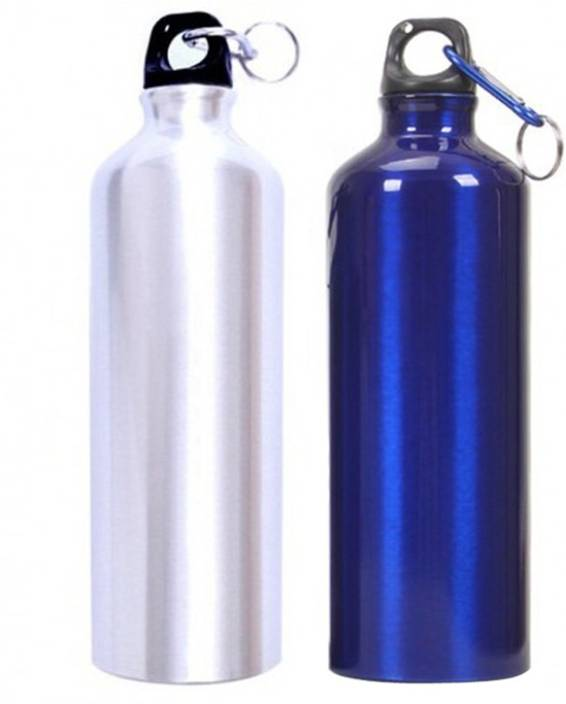 Tuelip Aluminium Durable Sports Water Bottle For College School 750 Ml With Carabiner Pack Of 2 Silver Blue Bottles