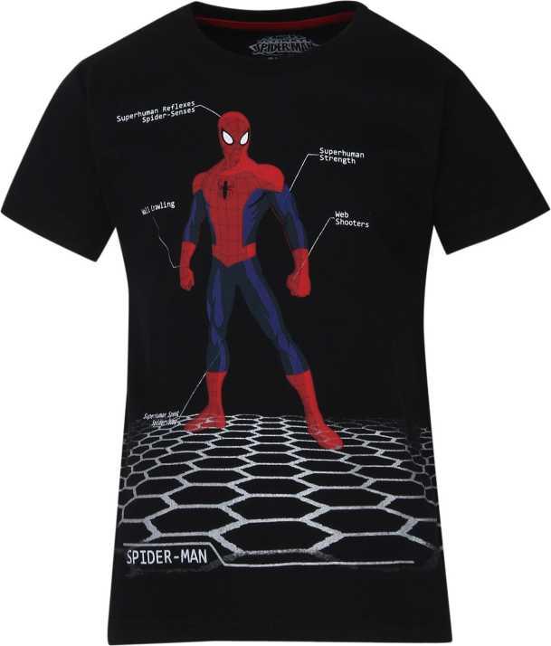 7880c53b Amazing Spiderman Boys Graphic Print Cotton T Shirt (Black, Pack of 1)