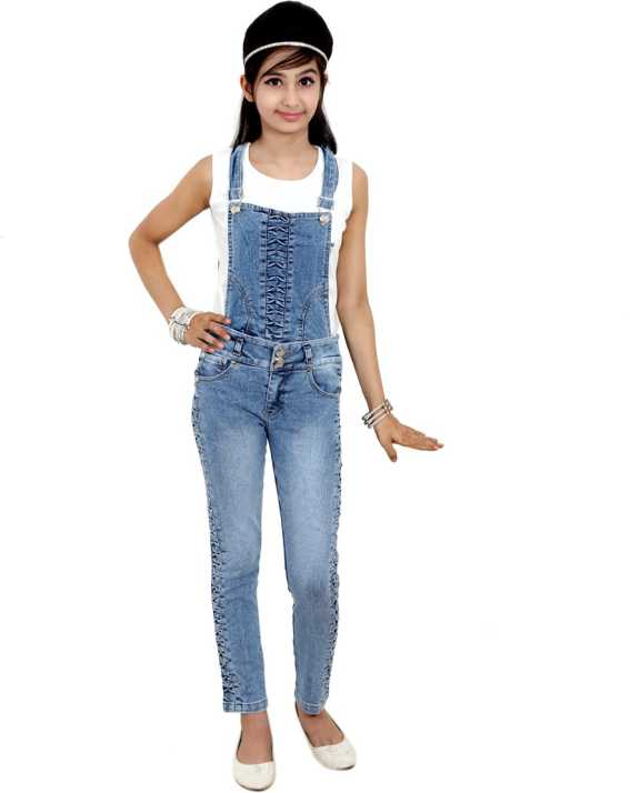 affb6bb61f8 Sunday Casual Dungaree For Girls Casual Solid Cotton Lycra Blend (Light  Blue