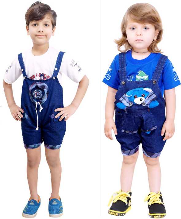 8ce3a81a0 Smart Kids Dungaree For Boy's & Girl's Casual Self Design Denim (White,  Pack of 2)