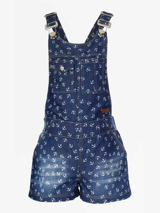 39c74e3b0 Naughty Ninos Dungaree For Girls Casual Printed Denim Price in India ...
