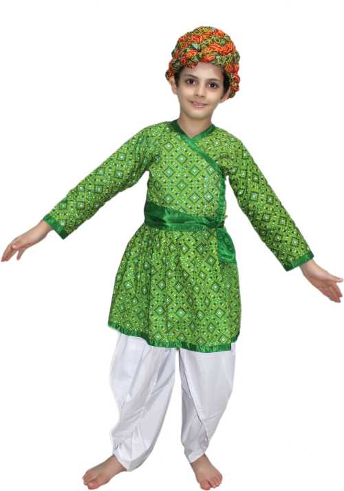 75e58379bb9ec Kaku Fancy Dresses Rajasthani Boy Green Color fancy dress for kids,Indian  State Traditional Wear for Annual function,Theme party,Stage Shows Dress ...