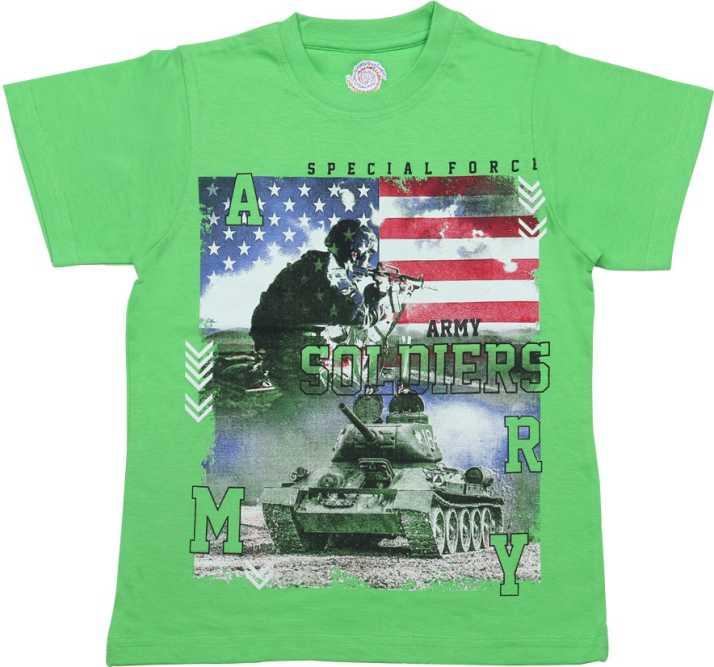 e4c7aa52 YUV Boys & Girls Graphic Print Cotton T Shirt (Light Green, Pack of 1)