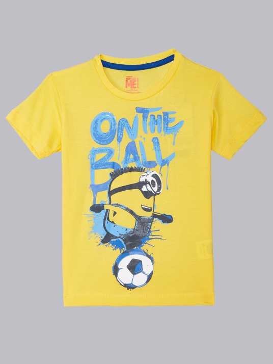 8f25c358 Minions By Kidsville Boys Graphic Print Cotton T Shirt (Yellow, Pack of 1)