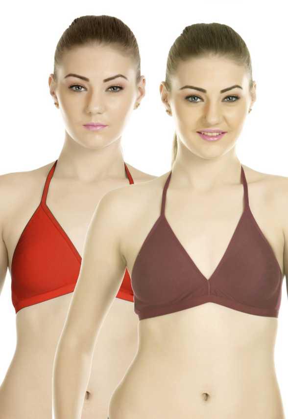 4383c262df Tweens Halter Neck Women s T-Shirt Non Padded Bra - Buy Red