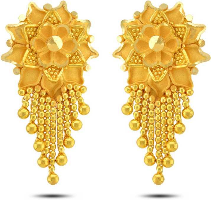 P N Gadgil Jewellers Fl Designer Yellow Gold 22kt Drop
