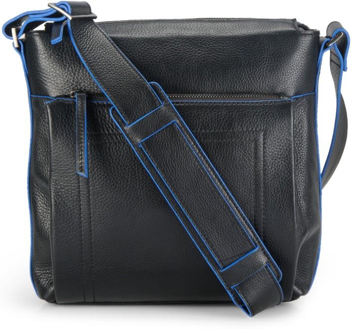 Black Phive Rivers Mens Leather Messenger Bag