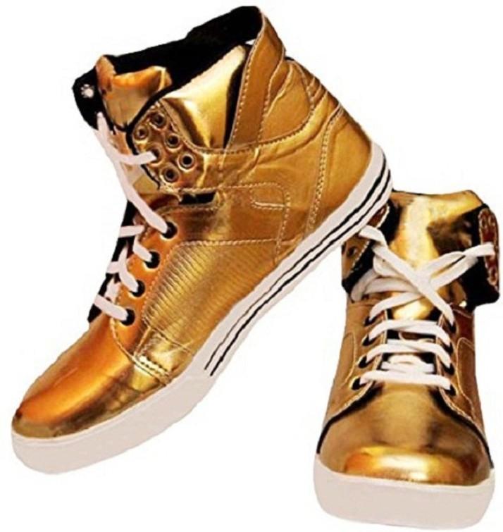 golden colour shoes mens
