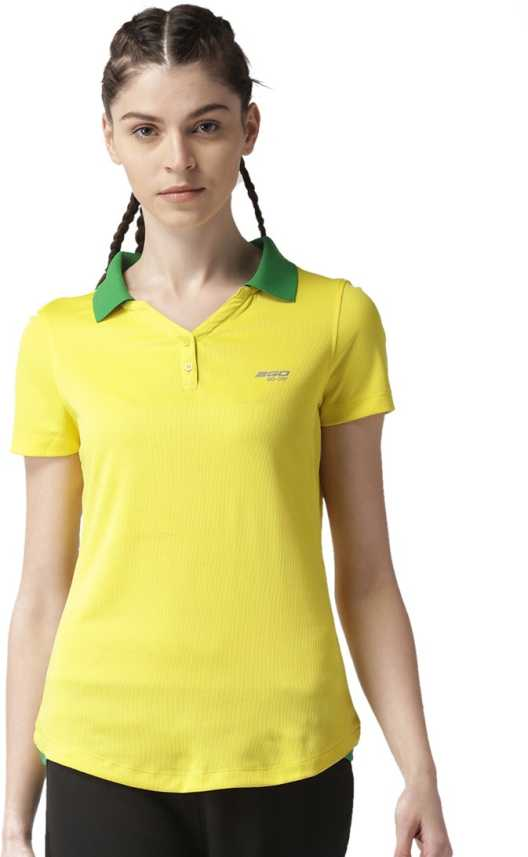 ace44854614377 2GO Solid Women s Polo Neck Yellow T-Shirt - Buy 2GO Solid Women s Polo Neck  Yellow T-Shirt Online at Best Prices in India