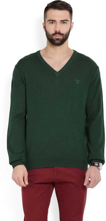 klistermärke dis fågel  Gant Solid V-neck Casual Men Dark Green Sweater - Buy GALAPADOS ...