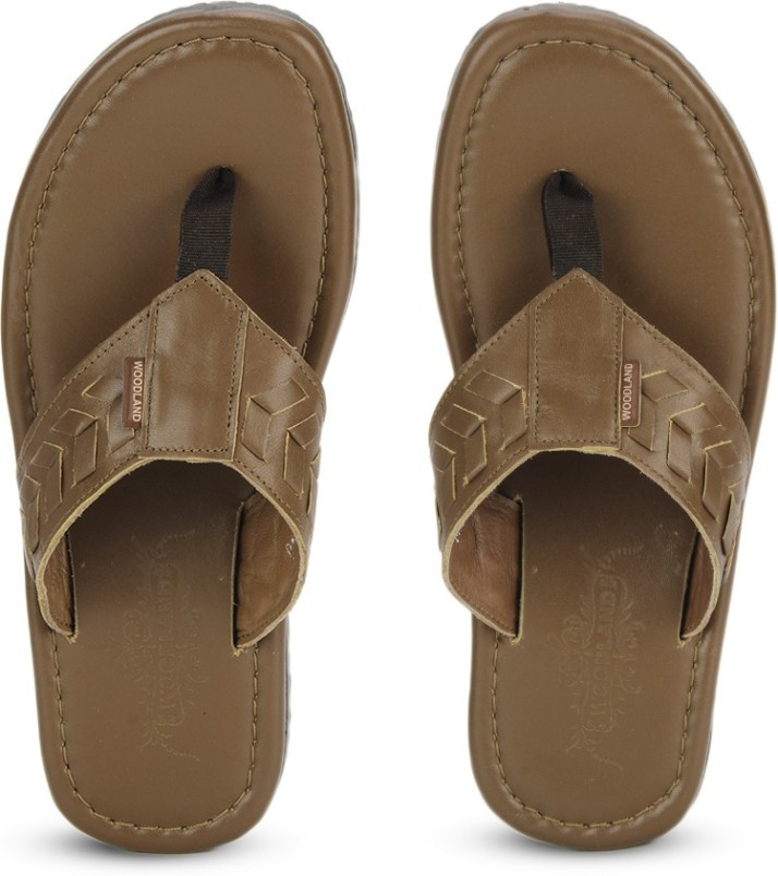 Woodland Leather Flip Flops - Buy TAN