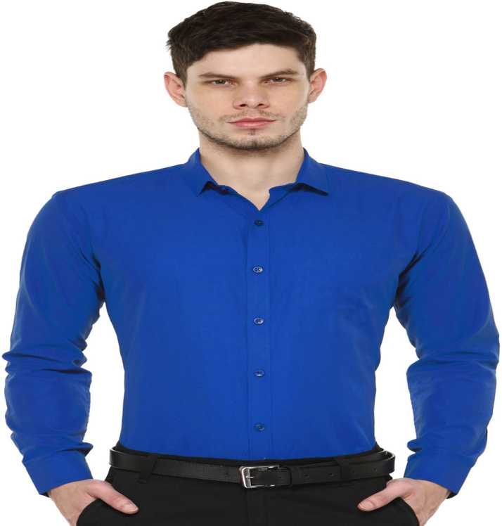 8a2d1a124047 FabTag - Being Fab Men Solid Formal Blue Shirt - Buy Royal Blue ...