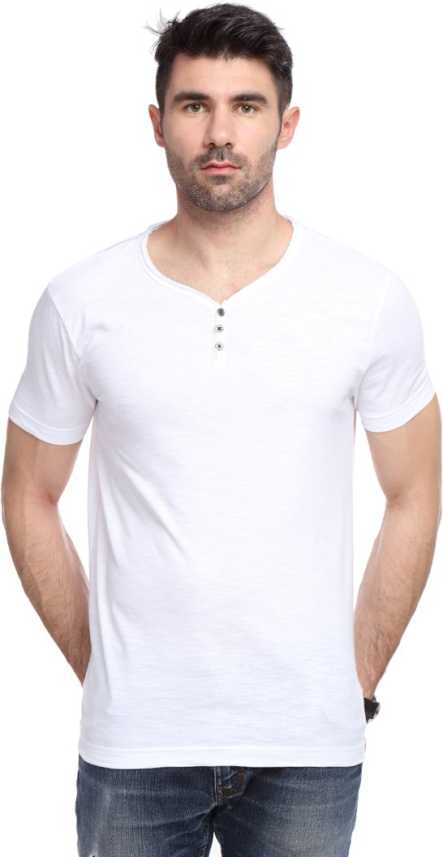889d95c8 Yukth Solid Men's Henley White T-Shirt - Buy White Yukth Solid Men's Henley  White T-Shirt Online at Best Prices in India | Flipkart.com
