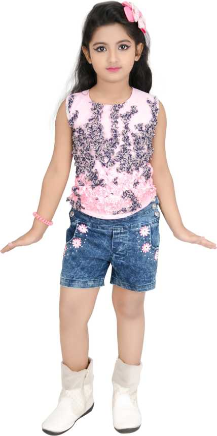 80abf9a2c341c Baby Girl's Stylish Top and Shorts set (12 Months to 18 Months) Girls  Party(Festive) Shorts Top (Pink)