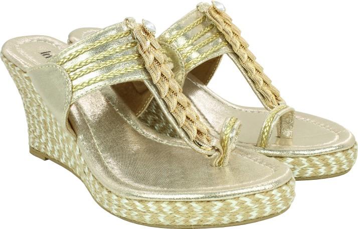 Inc.5 Women Gold Sandals - Buy Inc.5