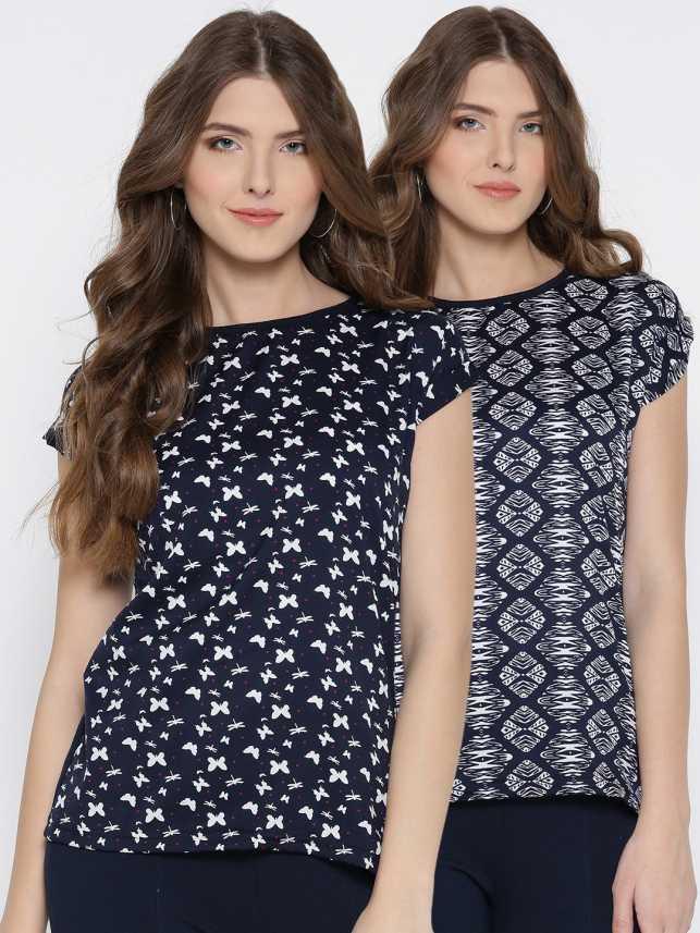 9624fe5059 U F Casual Short Sleeve Animal Print Women s Dark Blue
