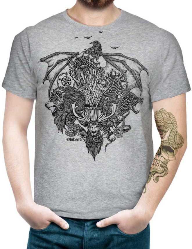 Labartry Graphic Print Men Round or Crew Grey T-Shirt