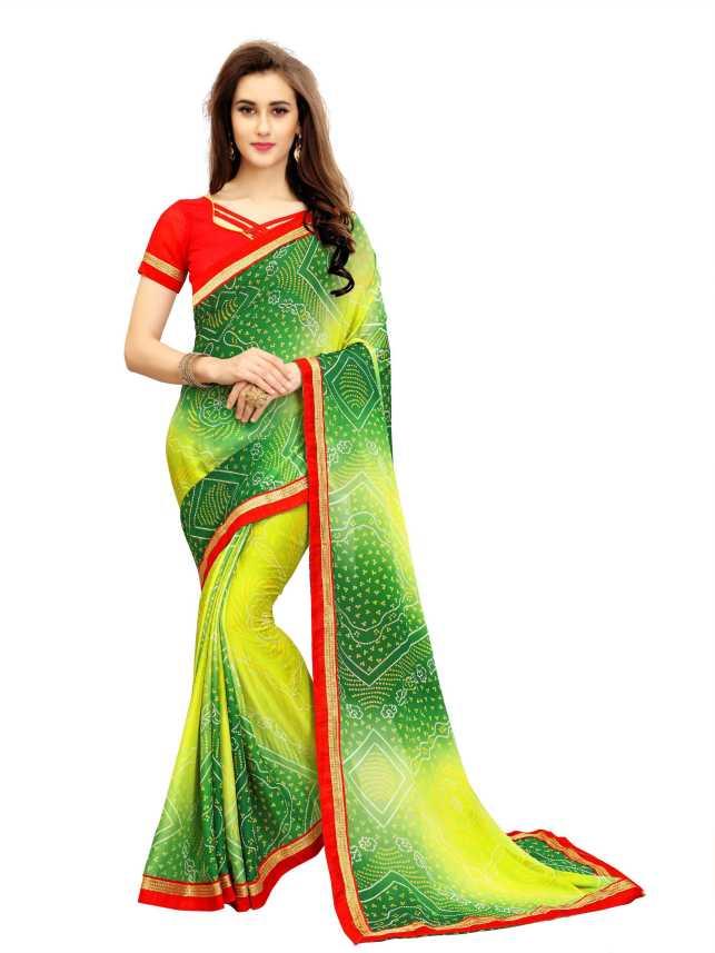 2eb34ed138 IndianEfashion Printed Bandhani Poly Georgette Saree (Light Green)