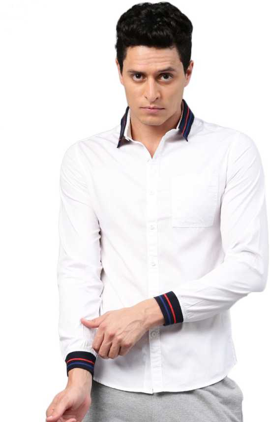 d79edb26 HRX by Hrithik Roshan Men Solid Casual White Shirt - Buy HRX by ...