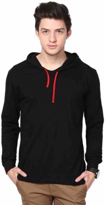 4e07842b19c2 Kay Dee Solid Men s Hooded Black T-Shirt - Buy Kay Dee Solid Men s Hooded  Black T-Shirt Online at Best Prices in India