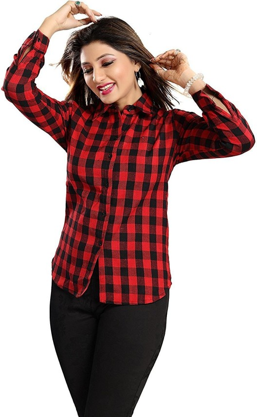 red black check shirt womens