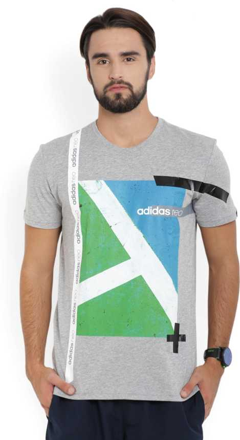 ADIDAS Printed Men s Round Neck Grey T-Shirt - Buy MGREYH BLACK ADIDAS  Printed Men s Round Neck Grey T-Shirt Online at Best Prices in India  d0de5b13cd