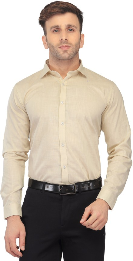 Being Fab Mens Solid Casual Shirt 42 Brown