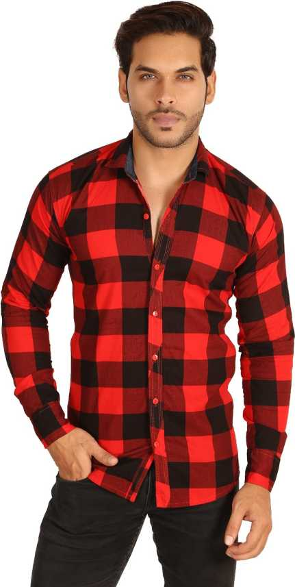 a7b088a35b78 FabTag - Mesh Men s Checkered Casual Red Shirt - Buy RED1 FabTag - Mesh  Men s Checkered Casual Red Shirt Online at Best Prices in India
