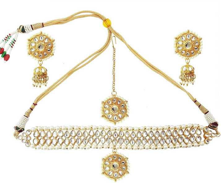 9c7bd22707ca5 Mehrunnisa Traditional Kundan & Pearls Choker Necklace Set With ...
