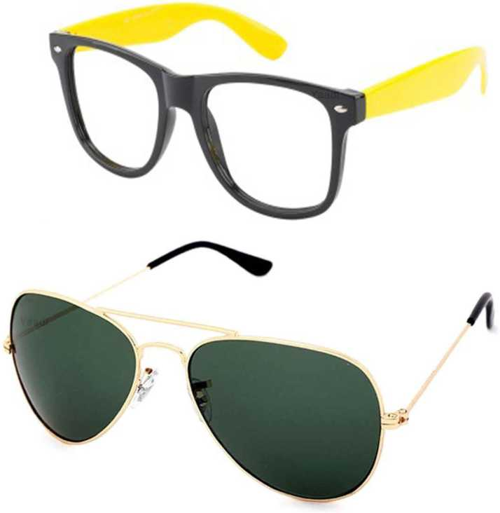 c05cb66532a3 Buy Yaadi Wrap-around, Aviator Sunglasses Green, Clear For Men ...