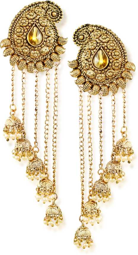 90abd415aba Flipkart.com - Buy Zaveri Pearls Tassels With Dome-Shaped Jhumki Drops  Earring Zinc Drops   Danglers Online at Best Prices in India
