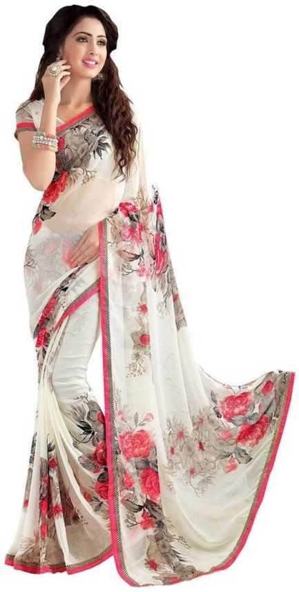 320816bf4b Buy Saara Floral Print Bollywood Pure Chiffon, Heavy Georgette Beige Sarees  Online @ Best Price In India   Flipkart.com