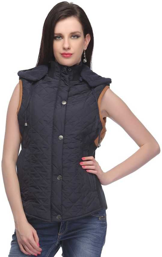 3e0aebc77d1 Madame Sleeveless Solid Women s Jacket - Buy Navy Madame Sleeveless Solid  Women s Jacket Online at Best Prices in India