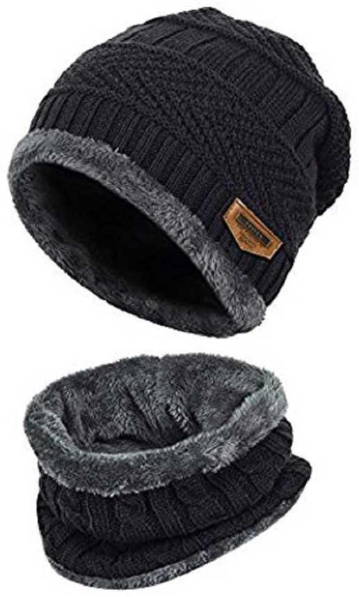 a0e066360e5 HANDCUFFS Pure Woolen Skull Cap WIth Muffler  Beanie - Blue - Unisex -  Winter Cap Cap - Buy HANDCUFFS Pure Woolen Skull Cap WIth Muffler  Beanie -  Blue ...