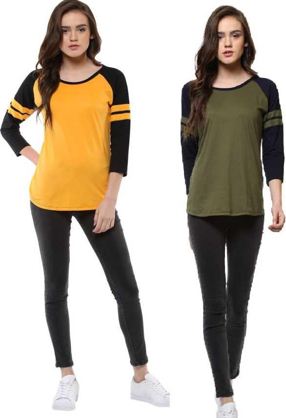 4e0614b246bec9 Veirdo Solid Women Round Neck Yellow, Green T-Shirt - Buy Veirdo ...